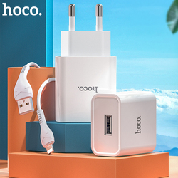 Hoco USB Charger Travel EU Plug 2A Fast Charging Adapter For iPhone 11 12 7 8 Mobile Phone Charger with Cable For Samsung Xiaomi