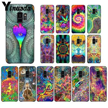 Yinuoda Colourful Psychedelic Trippy Art TPU black Phone Case Cover Shell For GALAXY s6 edge edge plus s7 edge s8 plus s9 plus image