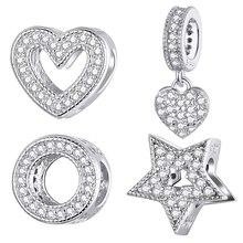 DIY Charms Bracelet Jewelry Pendant-Fit Heart-Beads Star 925-Sterling-Silver WOSTU Original