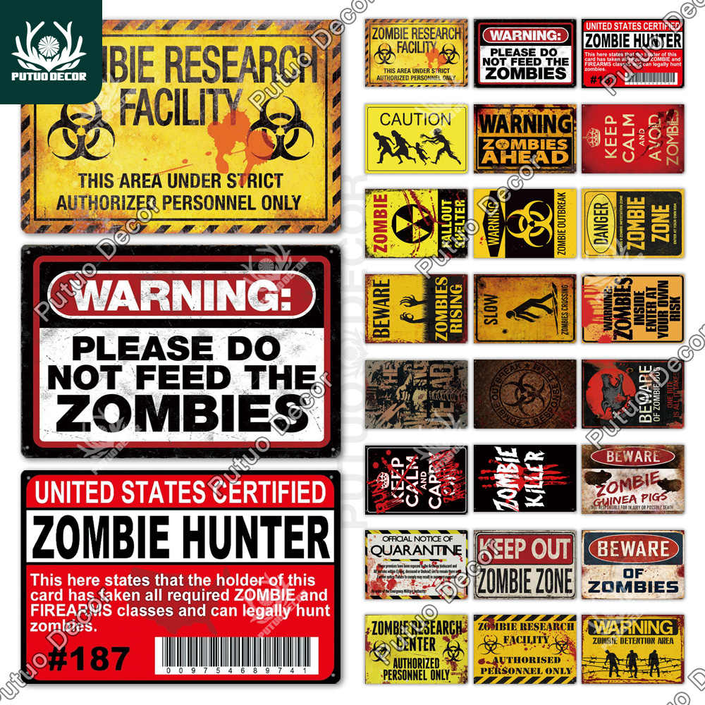 Warning Beware Of Zombie Danger Keep Out Metal Tin Signs Vintage Poster Wall Art Painting Plaque Bar Pub Club Home Decor Yj010 Plaques Signs Aliexpress