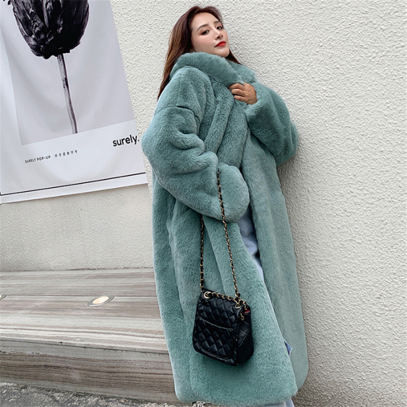 Fashion Women Winter Fur Warm Long Coat New Long Sleeve Female Thick Coat Ladies Casual Loose Oversize Outwears