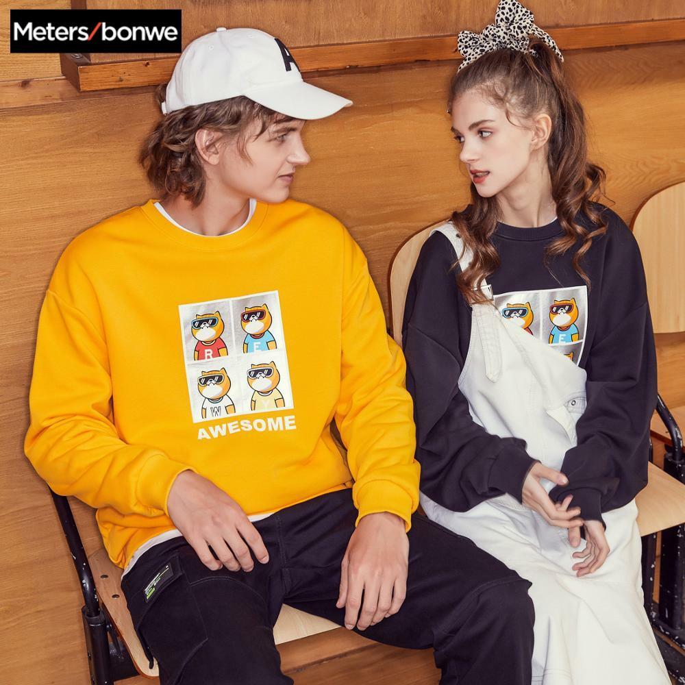 Metersbonwe O-neck Sweatshirt For Couples 2020 Spring New Men Women Casual Hip Hop Handsome Sweatshirt Women Oversize Tops