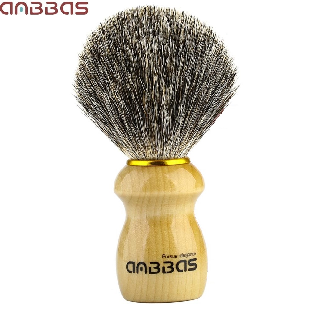 Wood Shaving Brush Anbbas Pure Badger Hair Shave Brush Wood HandleTraditional Shaving Brush For Men