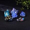 Натуральный кварцевый кристалл, Радужный титановый кластер, редкая точка для украшения дома, рукоделие, камень «Reiki» Can для заживления образ...