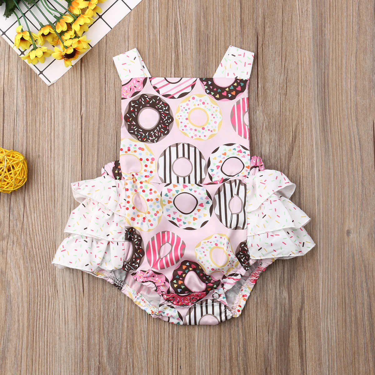 Pudcoco Newborn Baby Girl Clothes Sleeveless Doughnut Print Ruffle Romper Jumpsuit One-Piece Outfit Sunsuit Clothes 0-24M