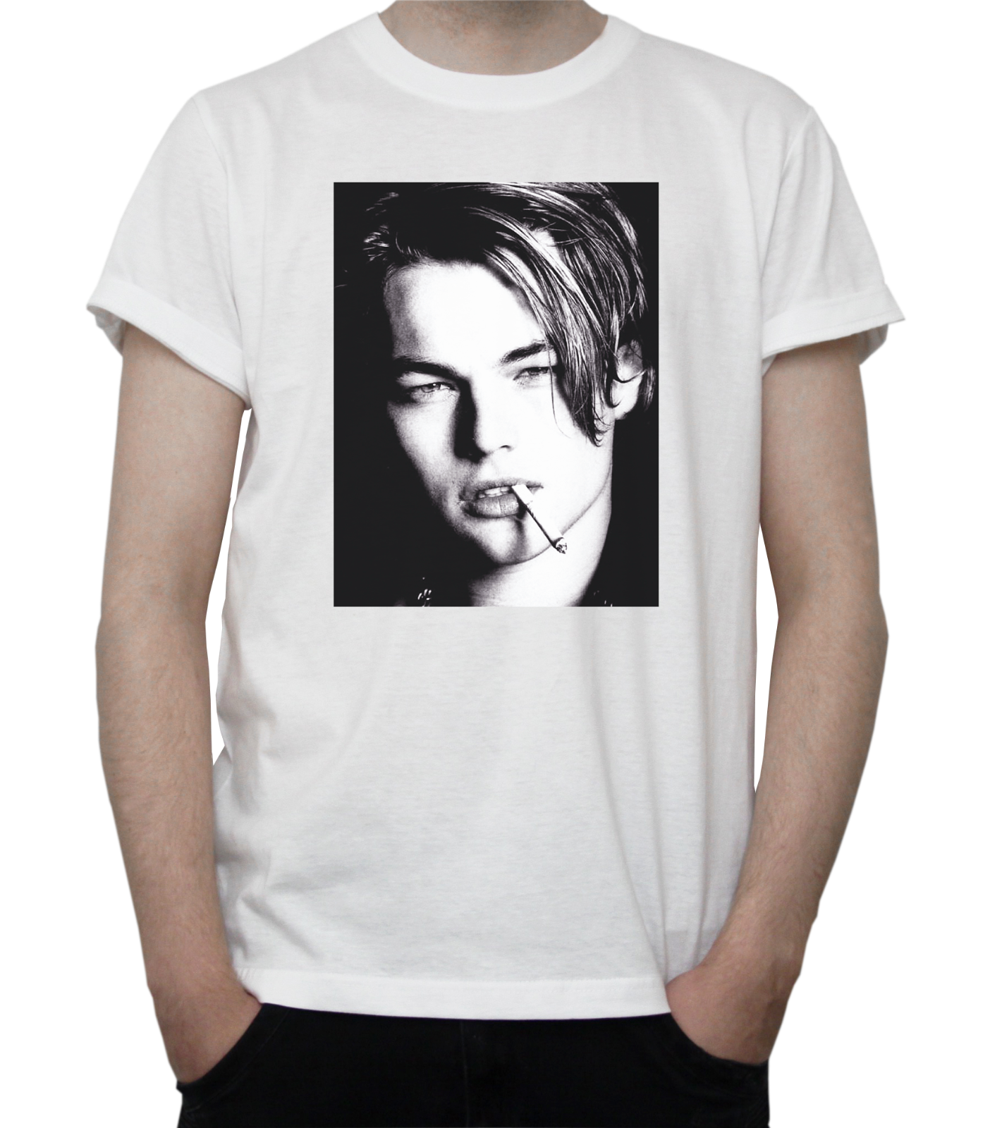 Young Leonardo Dicaprio Bw Portrait T-Shirt Hollywood Actor Titanic Grey White Adults Casual Tee Shirt image