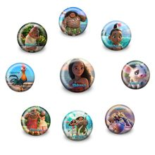 1pcs Moana Pins Ronde Naaien Pictogrammen op t-shirt Hoed Rugzak Ronde Badges Broche Knoppen DIY Accessoires voor Kids party Gift(China)