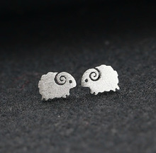 Simple Women's Silver Stud Earrings Small Sheep Stud Earrings Hollow Out Animal Jewelry Valentine's Day Gift vintage hollow out pattern spiral stud earrings