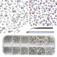 Mélange de couleurs, 140 à 2000 pièces, cristal AB, à dos plat, strass diamant, gemmes 3D, paillettes, décoration pour Nail Art, accessoires pour ongles, 12 grilles