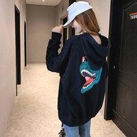 2019 Autumn New Korean Version Of The 3D Printing Letter Sweatshirt Blouse Loose Large Size Women's Hoodie Hooded Eweater Coat