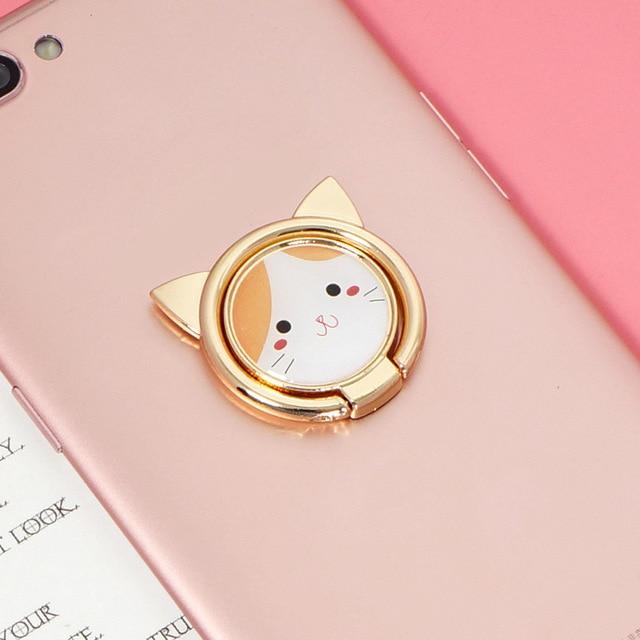 Finger socket holder for Mobile phone Cute Cartoon Cat Socket holder Mobile phone Finger Metal Stand For iPhone 11 Pro XS