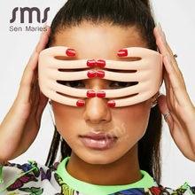 Lunettes de doigts à la mode pour femmes et hommes, lunettes de fête uniques une pièce, mascarade Cosplay Oculos de Sol Feminino