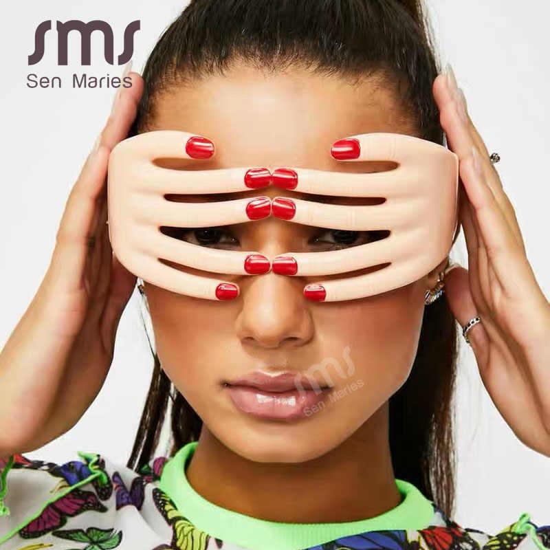 Mode doigts lunettes lunettes femmes Festival Point hommes une pièce Unique fête lunettes mascarade Cosplay Oculos de Sol Feminino