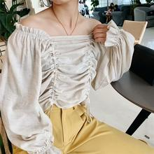 Pleated Cotton and Linen Blouse Women Long Sleeve Square Collar Drawstring Short Tops for Lady