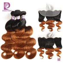 Pasma ludzkich włosów z farbowaniem ombre z przednim brazylijskim frontem z wiązaniem z przezroczystą koronką Frontal z wiązkami Racily Hair