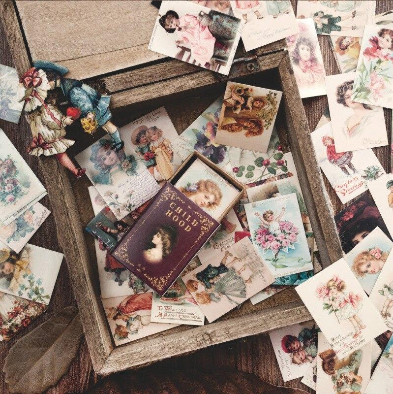 100PCS Mini Cards Pack 35mm*50mm Musha Floral Decoration Paper Card DIY Decoration Supplies
