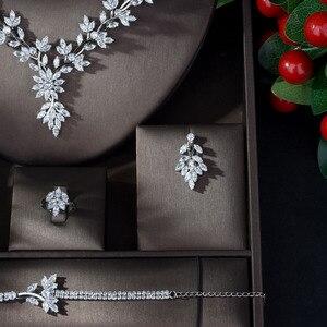 Image 3 - HIBRIDE סופר יוקרה עלה עלים מלא AAA מעוקב Zirconia נשים חתונה שמלת שרשרת עגיל תכשיטי סטי Bijoux Femme N 1143