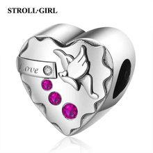 Strollgirl HOT New Design Fit Pandora Bracelet 100% 925 Sterling silver Romantic CZ Love Charms Heart beads for Women Jewelry