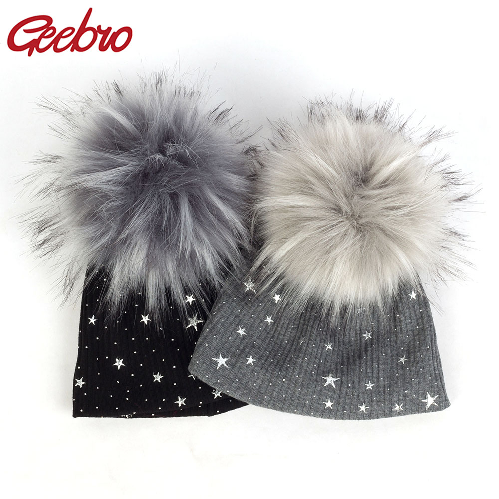 Geebro Newborn Warm Gold Splatter Paint Beanies With Pom Pom Star Print Ribbed Hats For Infant Toddler Faux Fur Hairball Caps