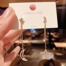 Orecchini lunghi asimmetrici della luna della stella dello zircone della corea per i regali dei gioielli degli orecchini di progettazione d'avanguardia di modo di temperamento della donna