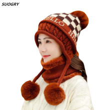 Fashion Winter Hats Womens Fur Knitting Fox Hat Pom Poms Ball Beanie Caps Skullies Cap Female Thick Beanies With Scarf