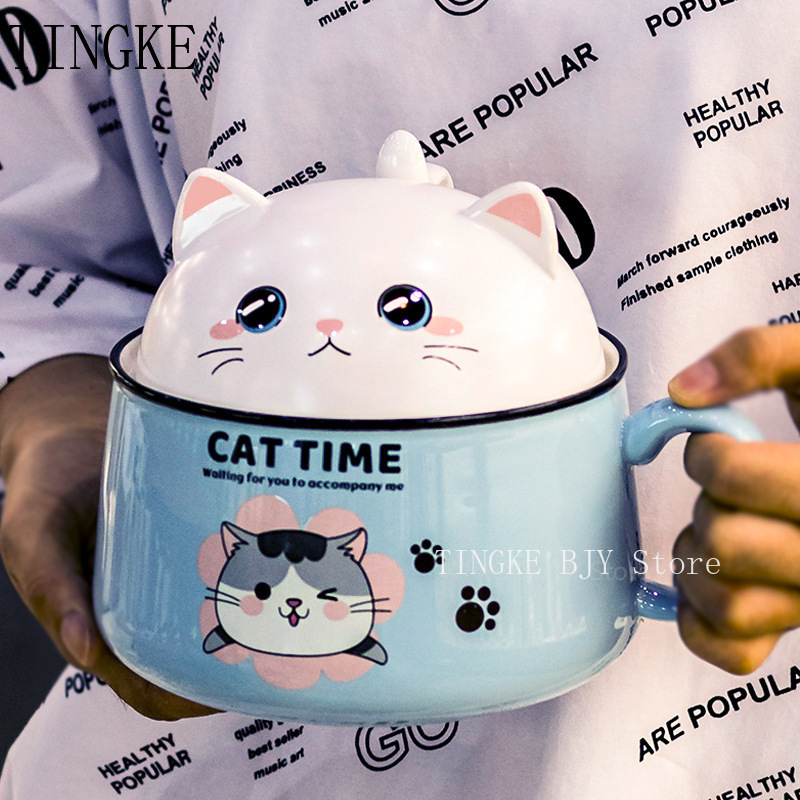 Creativity High Capacity Spoon with Lid Ceramics Instant Noodle Bowl Young Girl Dorm Room Student Office Super Large Bowl Mug