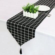 Скатерть из льна и хлопка черно белая скатерть сетчатой ткани
