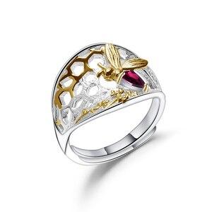 Image 5 - GEMS บัลเล่ต์ 925 เงินสเตอร์ลิง Golden Honeycomb แหวน 0.28Ct Rhodolite NATURAL GARNET Handmade แหวนสำหรับเครื่องประดับ