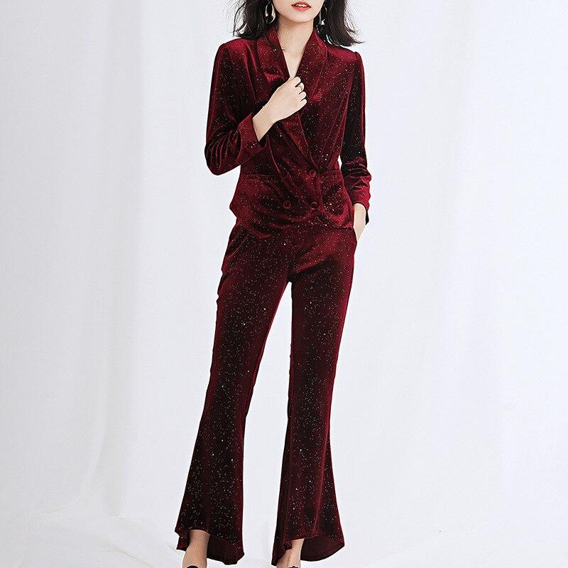 Women's Suit Autumn New Gold Velvet Suit Blazers With High Waist Pants Suit Women's Slim Double-breasted Suit Two-piece Suit