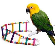 Красочные животные попугай птица деревянная лестница подъем канатная дорога хомяк игрушки Веревка попугай укусы жгут клетка попугай товары для дома