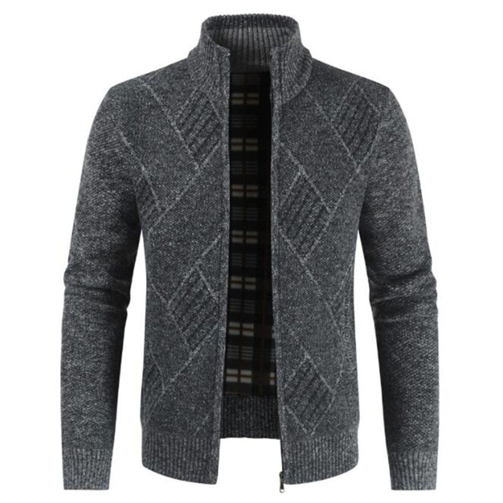 ZUSIGEL New Fashion Cashmere Sweater Men Geometric Print Zipper Mens Sweaters For 2019 Stand Collar Mens Cardigan Sweater