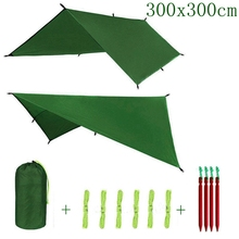 ARRIES 3 м x 3 м солнцезащитный навес Летающий брезент тент подвесной открытый водонепроницаемый тент гамак кемпинг дождь сверхлегкий УФ сад навес солнцезащитный козырек