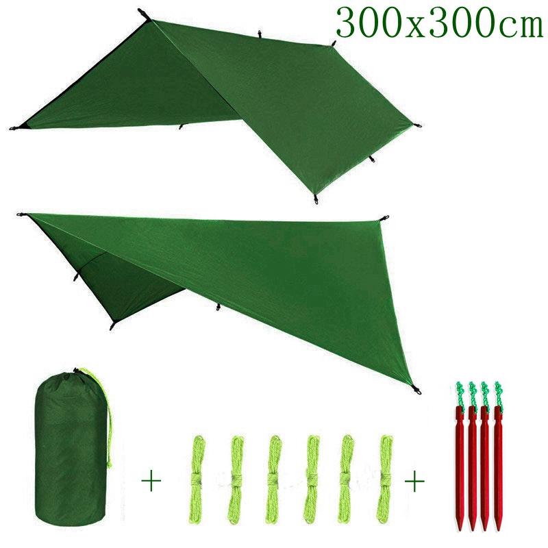 ARRIES 3Mx3M Sun Shelter Fly Tarp Awning Hanging Outdoor Waterproof Tent Hammock Camp Rain Ultralight UV Garden Canopy Sunshade