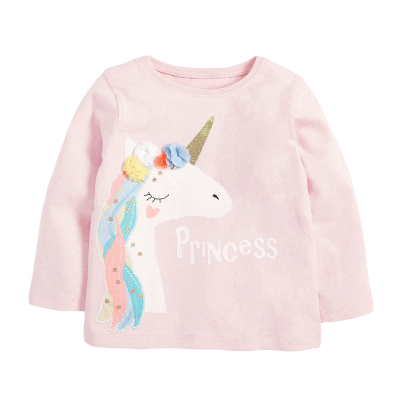 VIDMID Baby Girls Long Sleeve Casual T-shirts Kids Cotton Floral Cartoon Clothes Tops Children Girls T-shirts Tees Kids Baby Top 7