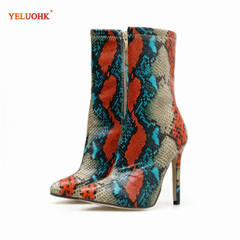 Sexy Women Boots Serpentine Snake Leather Female Ankle Boots 11.5 Extremely Thin High Heel 35 42 Plus Size Ladies Party Shoes