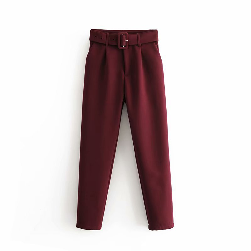 Hc21592417f544bf7a59bd1f5c196217bC - Office Lady Black Suit Pants With Belt Women High Waist Solid Long Trousers Fashion Pockets Pantalones FICUSRONG Pencil