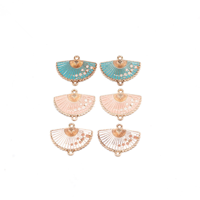 10pcs/lot Vintage Chinese Style Alloy Enamel Fan Connectors Charms Pendant For Women DIY Bracelet Necklace Jewelry Accessories