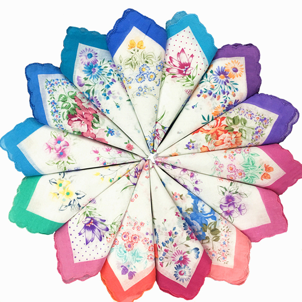 12pcs Womens Cotton Floral Handkerchief Vintage Floral Print Lady Handkerchief Pocket Hanky Bulk Set