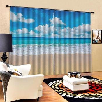blue beach curtains 3D Blackout Curtains For Living room Bedding room Drapes Cotinas para sala  Decoration curtains
