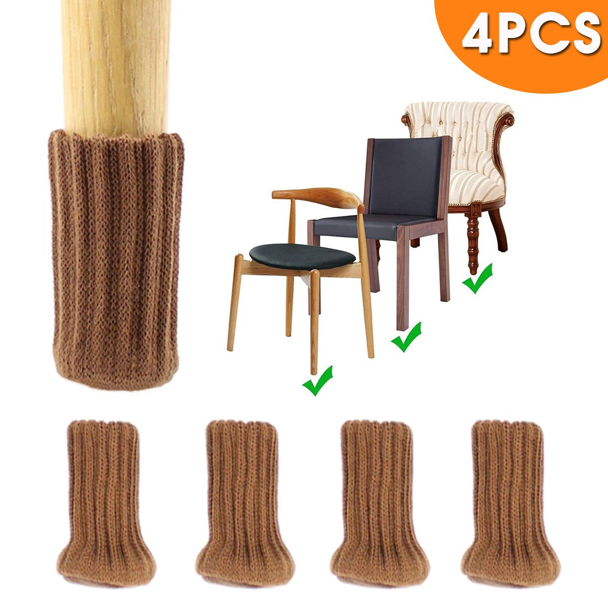 Cloth Chair Leg Cover Knitting Wool Furniture Feet Table Chair Leg Socks Floor Protection Anti-slip Table Foot Cover
