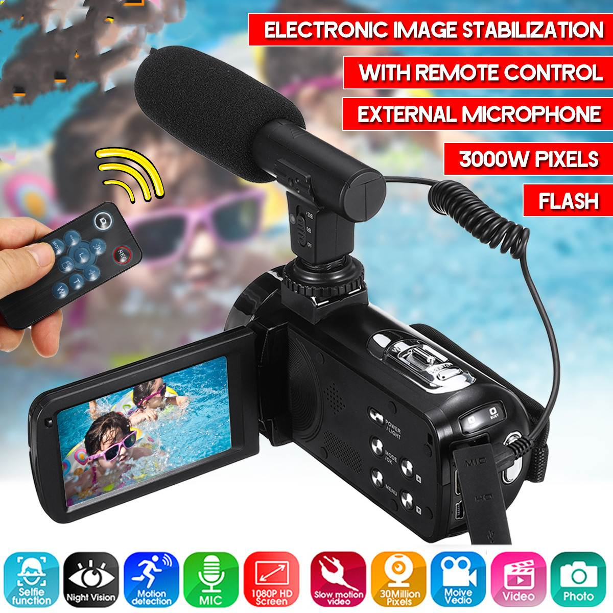 30MP Professional 4K 1080P HD Camcorder Video Camera Night Vision 3.0 Inch HD Camera 18X Digital Zoom Camera With Mic