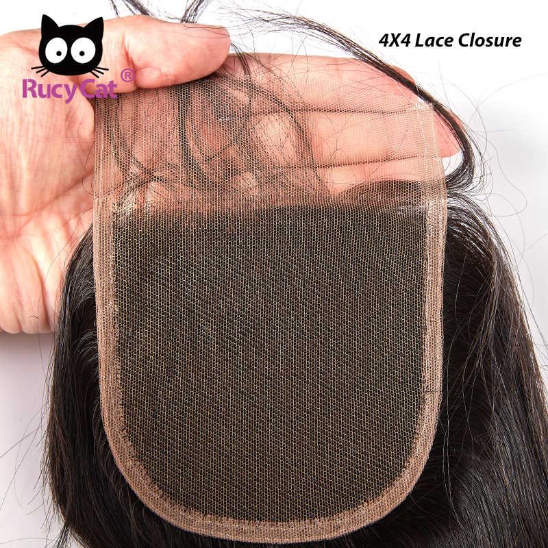RucyCat 4x4 Spitze Verschluss Medium Haar Remy Menschenhaar Brasilianische Haar Körper Welle Natürliche Farbe Verschluss Kostenloser Versand