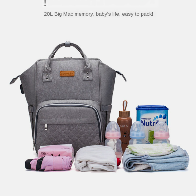 Lequeen USB Care Diaper Bag Multi-Function Backpack Large Capacity Waterproof Backpack Mother's Bag Baby Travel Stroller Bag