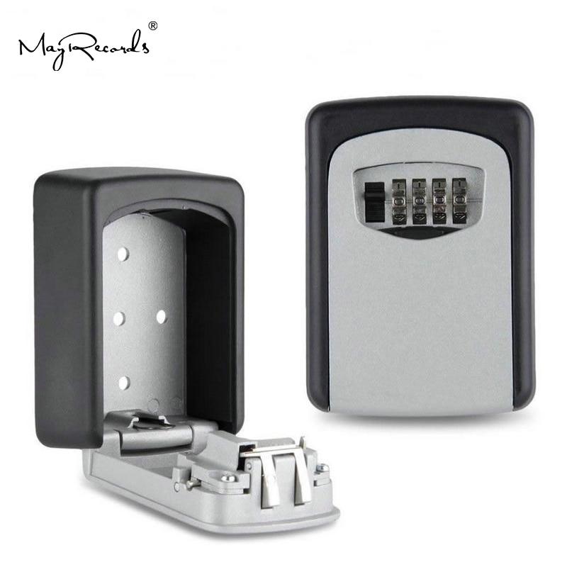 Small Metal Secret Safe Box Key Storage Organizer Boxes With 4 Digit Wall Mounted Combination Password Keys Hook Organizer Boxes