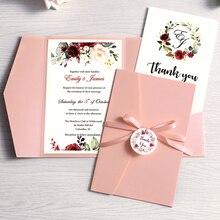 50 قطعة دعوة زفاف الوردي بورجوندي الأزرق الداكن بطاقة المعايدة مع حفلة المغلف مع الشريط والعلامة