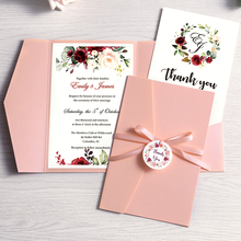 50pc Wedding Invitation Pink Burgundy Navy Blue Greeting Card with Envelope Party With Ribbon and Tag