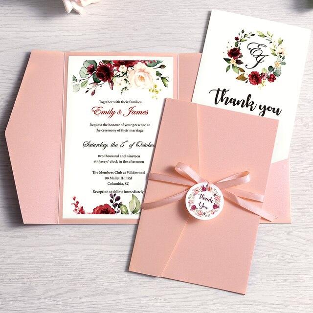 Cartão azul marinho da borgonha do rosa do convite do casamento de 50 pces com festa do envelope com fita e etiqueta