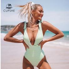 CUPSHE 스트라이프 프린트 딥 v 넥 원피스 수영복 여성 섹시한 백 레이스 보우 매듭 Monokini 2020 Girls Beach 수영복 수영복