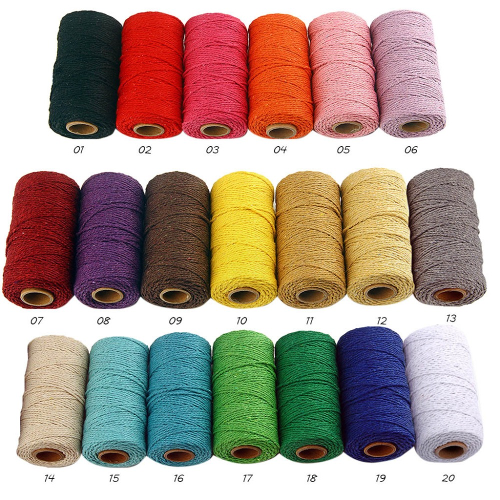 2mm Thread Braided Cotton Rope Crafts Macrame Cord String Twisted