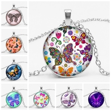2019 New 3 Color Fashion Charm Flower Butterfly Time Broken Necklace Party Gift Pendant Sweater Chain